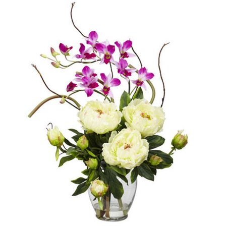 Nearly Natural 1175-WH 21.5 in. H White Peony and Orchid Silk Flower Arrangement This exquisite Peony and Dendrobium arrangement projects a perfect harmony of color and design. The bright, tasteful, and colorful weaving of different textures and flower types creates a splendor thats simply not found in a single species. Standing at over 21 inches high and set in a glass vase with liquid illusion faux water, this makes the perfect addition to any home or office, and also makes a great gift.A perfect harmony of color and design.Brighten up any room or office space.Will look great for years to come.Color: White.Color Family: Whites.Container finish: Clear.Container depth (in.): 5.5.Container finish family: Clear.Container height (in.): 7.5.Container included: Yes.Container material: Glass.Container width (in.): 5.5.Decor Product Type: Decorative Accessory.Product Type: Artificial Plant.Plant variety: Orchid.Depth (in.): 16.Height (in.): 21.5 .Width (in.): 19.0.- SKU: DSD540570