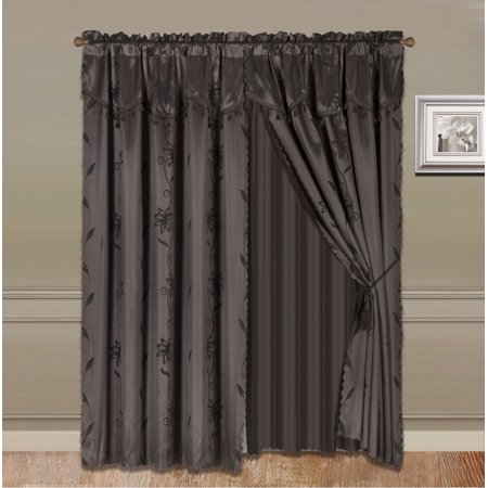 NADA BROWN COMPLETE WINDOW CURTAIN SET 2 panels faux silk  LEAF FLORAL 2 PANEL solid SHEER 2 attached VALANCE 2 TASSEL THICK HEAVY WINDOW CURTAIN drape 63