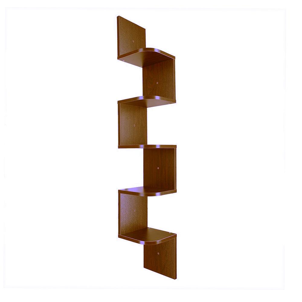 2 3 5 Tiers Wall Corner Wood Shelf Zig Zag Floating Display Rack Home Furniture