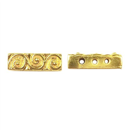 Bar 3 Strand - CG-466 18K Gold Overlay Multi Strand With Scroll Pattern Spacer Bar With 3 Hole