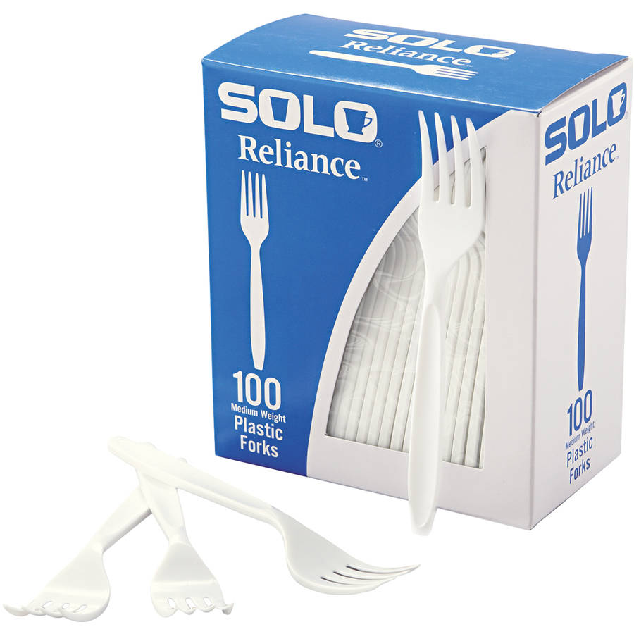 Solo Cup Company Reliance White Medium Weight Plastic Forks, 1000 count