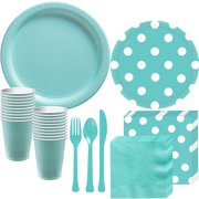 Party City Tableware Supplies for 16 Guests, Includes Paper Plates, Napkins, Plastic Cups, and Cutlery