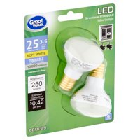 Great Value LED 3.5 Watts Soft White Directional R14 Intermediate Base Bulbs, 2 count