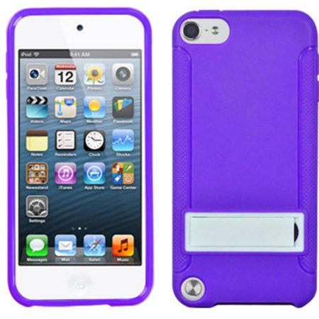 Apple iPod touch 5 MyBat Gummy Skin Cover with Stand, Solid White/Solid Purple