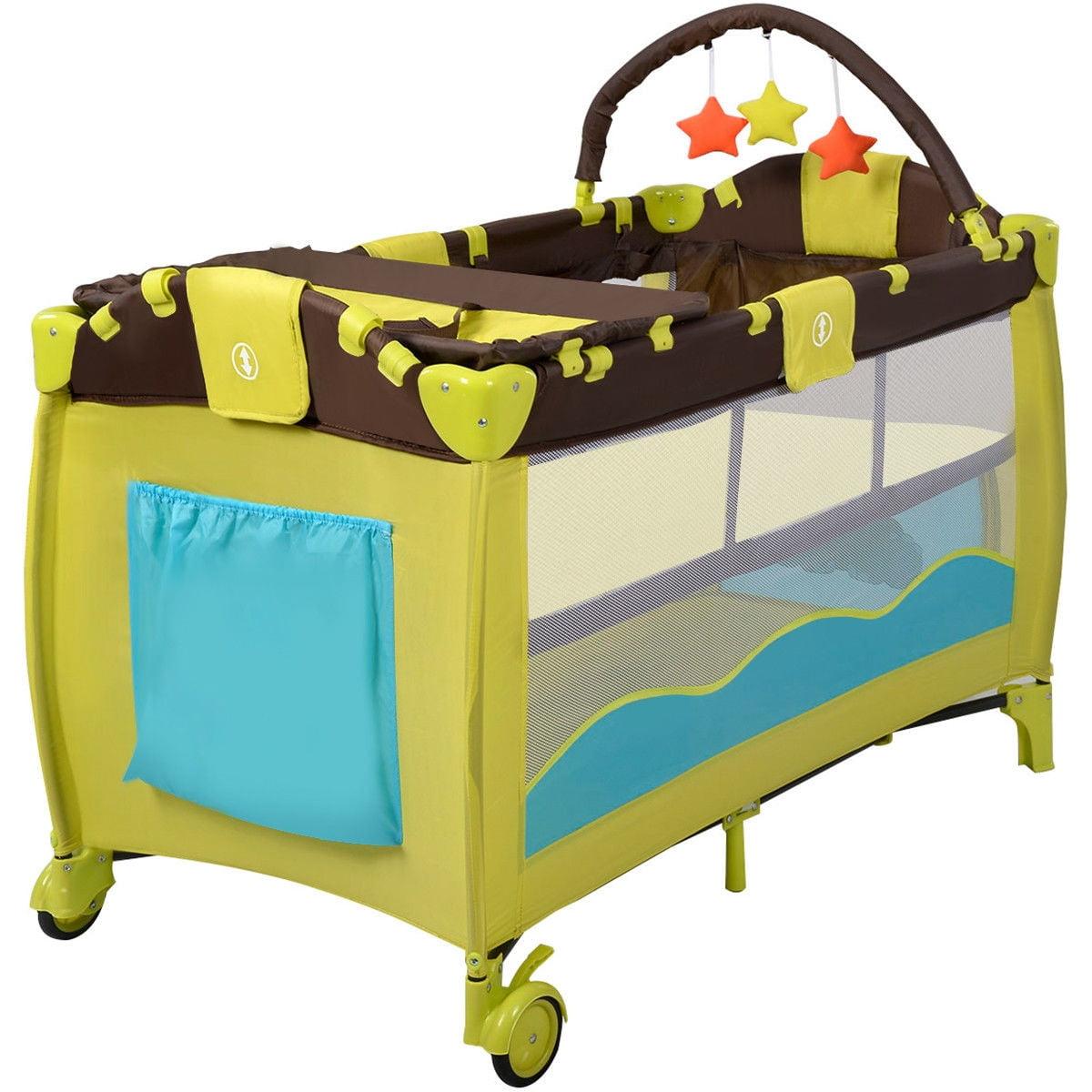 - Green Foldable Baby Playard Crib Infant Pack Travel Bassinet Baby