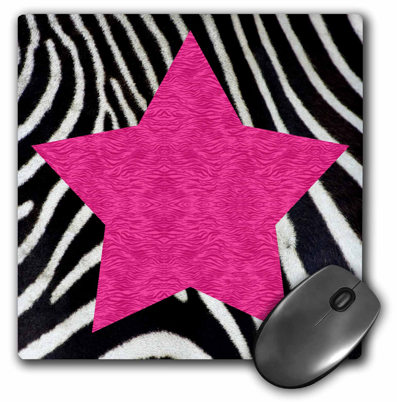 3dRose Punk Rockabilly Zebra Animal Stripe Pink Star Print, Mouse Pad, 8 by 8 inches