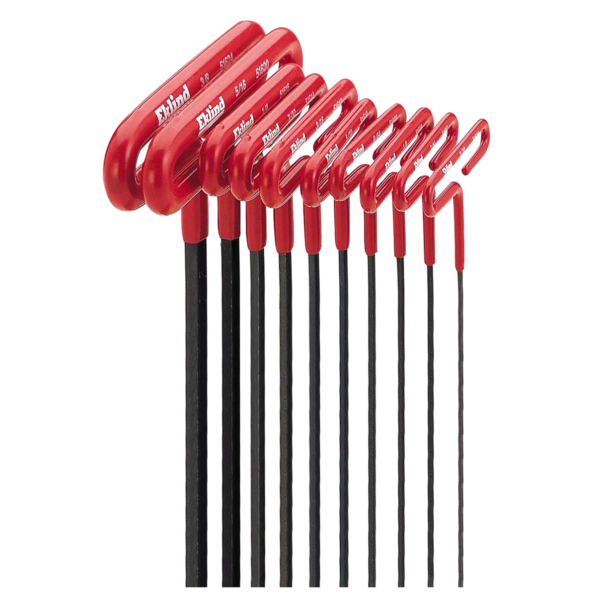 "Eklind 53610 10-Piece Standard T-Handle Hex Key Set 3/32"" to 3/8"", 6-Inch, Cushion Grip"