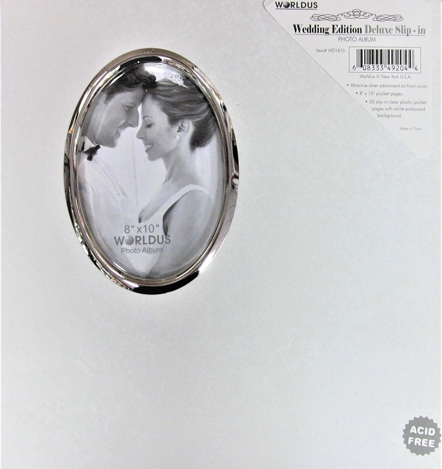 White Wedding Photo Album With Oval Opening On Cover Holds 30