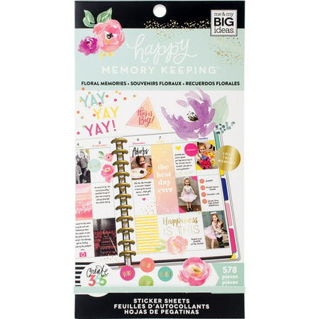 Memory Scrapbook Stickers - Happy Planner Sticker Value Pack-Floral Memories, 578/Pkg