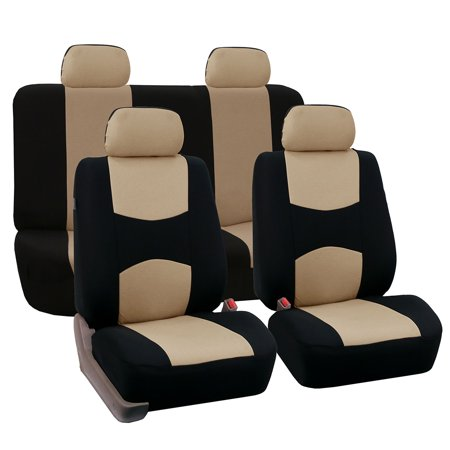 FH Group Universal Flat Cloth Fabric Car Seat Cover, Full Set, Beige and Black