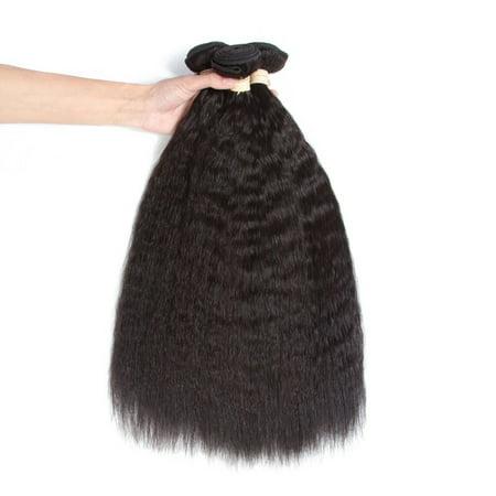 BEAUDIVA  Kinky Straight Hair Bundles With Closure Human Hair Bundles with 4*4 lace Closure natural