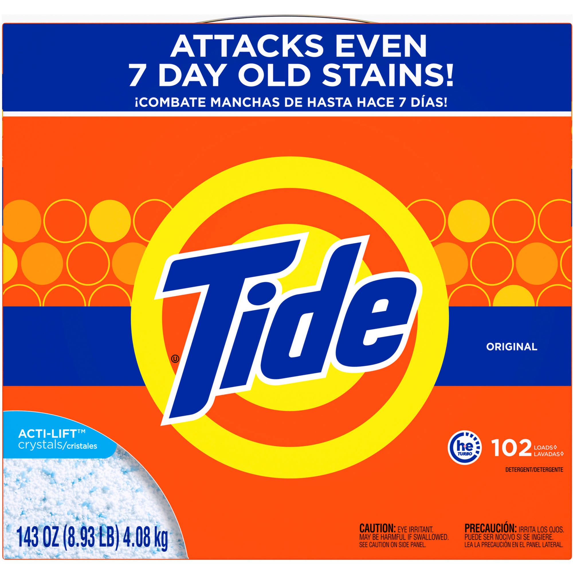 Tide HE Turbo Powder Laundry Detergent, Original Scent, 102 Loads, 143 oz