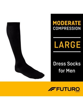 FUTURO Dress Socks for Men Large, Black, Moderate (15-20 mmHg)