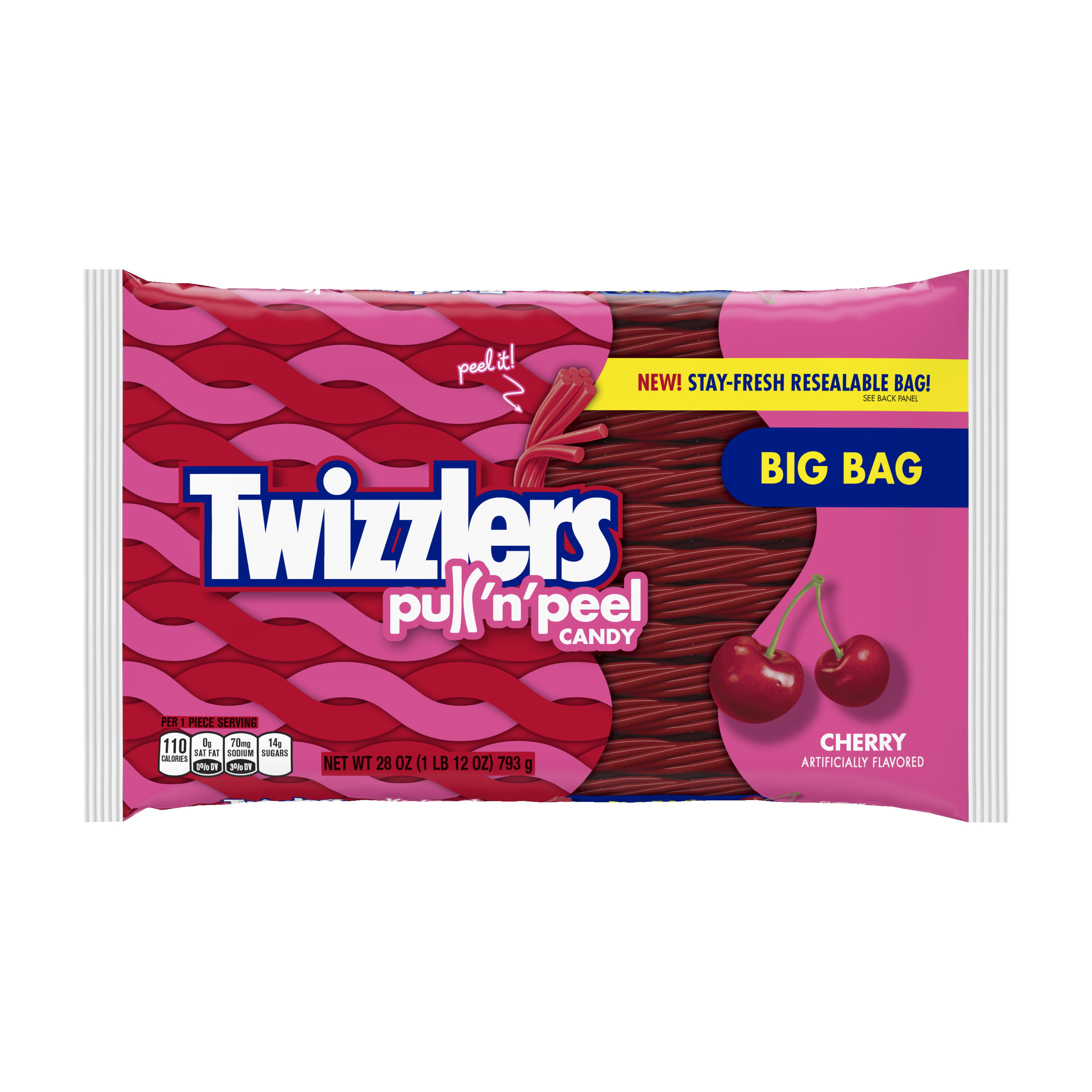 Twizzlers, Cherry Pull 'n' Peel Licorice Chewy Candy, 28 Oz