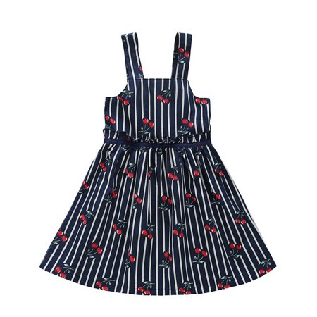 - BOBORA Toddler Kids Baby Girls Stripe Princess Dress Summer Cherry Sling Skirts Pageant Party Casual XS-L