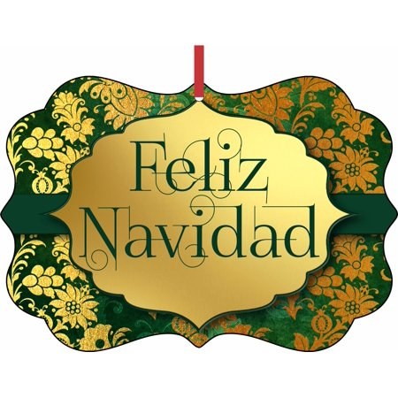 Feliz Navidad - Merry Christmas in Spanish Elegant Aluminum SemiGloss Christmas Ornament Tree Decoration - Unique Modern Novelty Tree Décor Favors ()