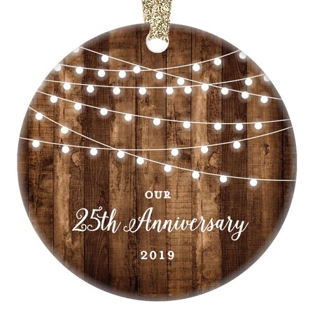 25th Anniversary Gifts, Twenty-Fifth Anniversary Married Christmas Ornament for Couple Mr Mrs Rustic Xmas Farmhouse Collectible Present 3