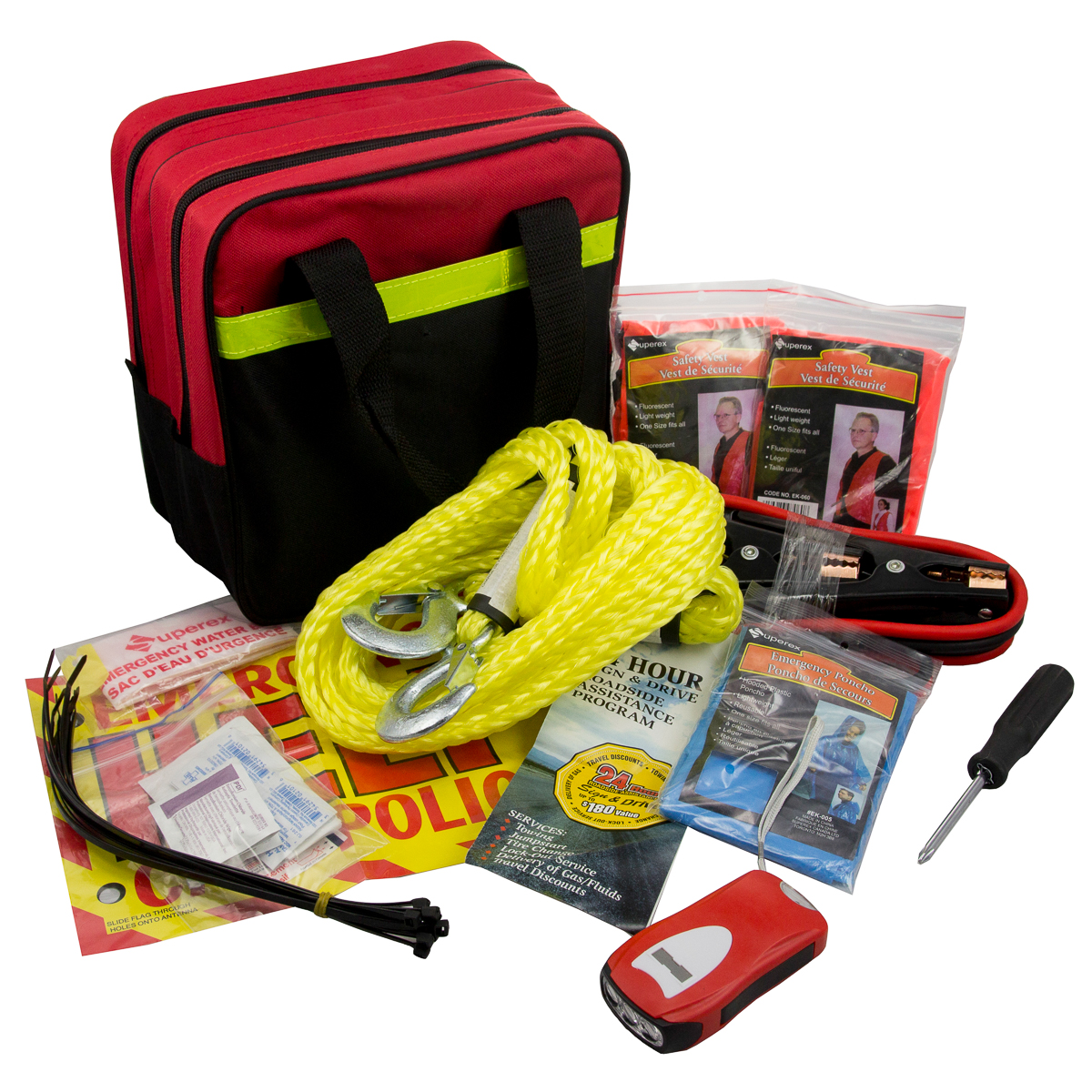 39pc Safe to Go Roadside Auto Safety First Aid Kit Jumper Cables Flashlight SOS Sign Bag