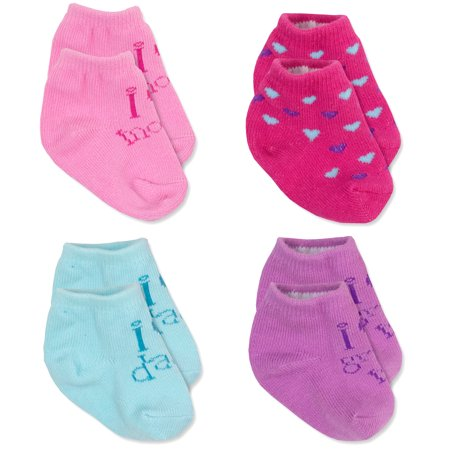 Baby Essentials Baby Girls I love Mommy Daddy Grandma Pink Heart Socks 0-6 Month - Best Baby Socks - Favorite Unique Newborn Cute Baby Shower Gift