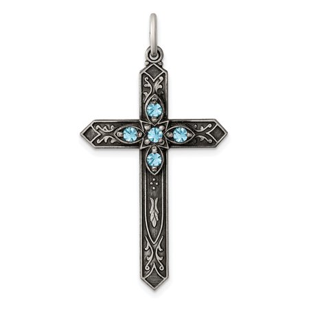 925 Sterling Silver March Birthstone Cross Religious Pendant Charm Necklace Aquamarine Religious Cross