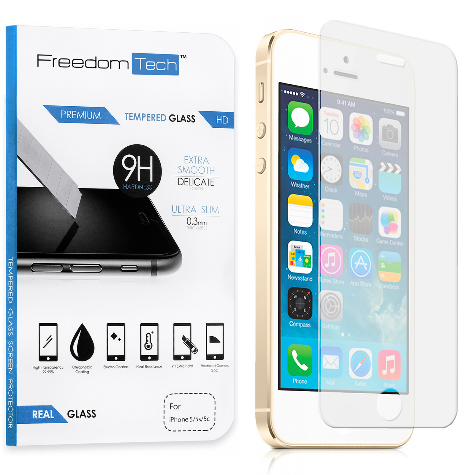 Freedomtech iPhone 5C Screen Protector Real Tempered Glass Film LCD Guard