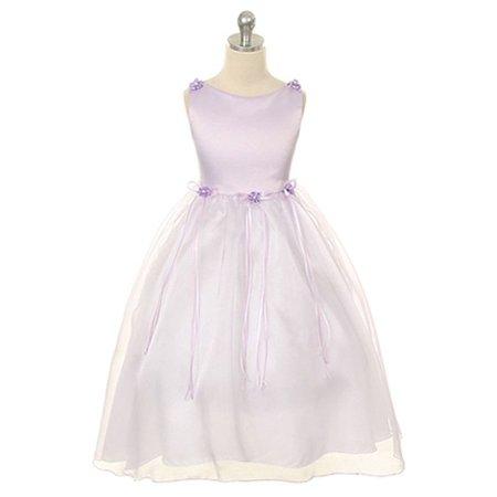 Kids Dream Girls Lavender Rosebud Organza Flower Girl Dress - Lavender Girls Dress