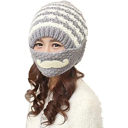 f2f8fcc2c81 PaZinger - PaZinger Women s Pompom Cap Women Winter Knitted Crochet Beanie  Hat Beard Face Mask Set Snow Ski Hat - Walmart.com