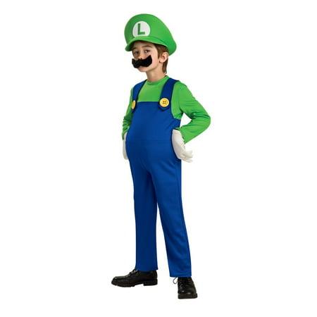 Super Mario Bros Deluxe Luigi Boys Childrens Costume - Luigi Deluxe Costume