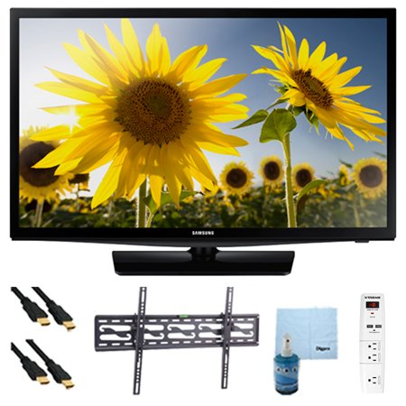 Samsung UN24H4000 24-inch 720p HD Slim LED TV Clear Motion Rate 120 Plus Hook-Up Bundle. Bundle Includes TV, Tilting TV Mount, 3 Outlet Surge protector w/ 2 USB Ports, 2 -6 ft High Speed HDMI Cables,