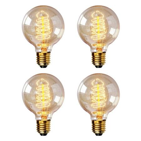 iSunMoon 40 Watt Edison Style Light Bulb - 4 Pack, Antique Edison Bulb, Vintage Edison Reproduction Clear Glass Bulb, Spiral Filament ()