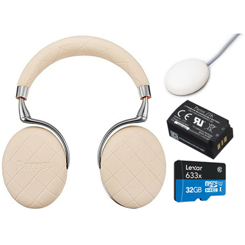 Parrot Zik 3 Wireless Noise Cancelling Headphones with Wireless Charger, Battery + Lexar 32GB MicroSDHC UHS-I 633X High-Performance Memory Card Bundle (Ivory Overstitched)