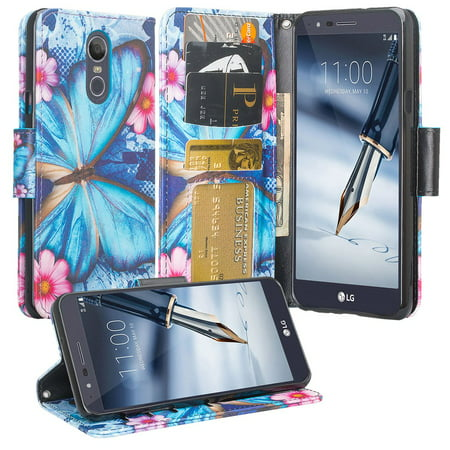 LG Stylo 5 Case,LG Stylo 5 Plus Case Pu Leather Wallet Phone Case Kickstand Cute Girls Women Cover for LG Stylo 5/Stylo 5 Plus - Blue Butterfly ()