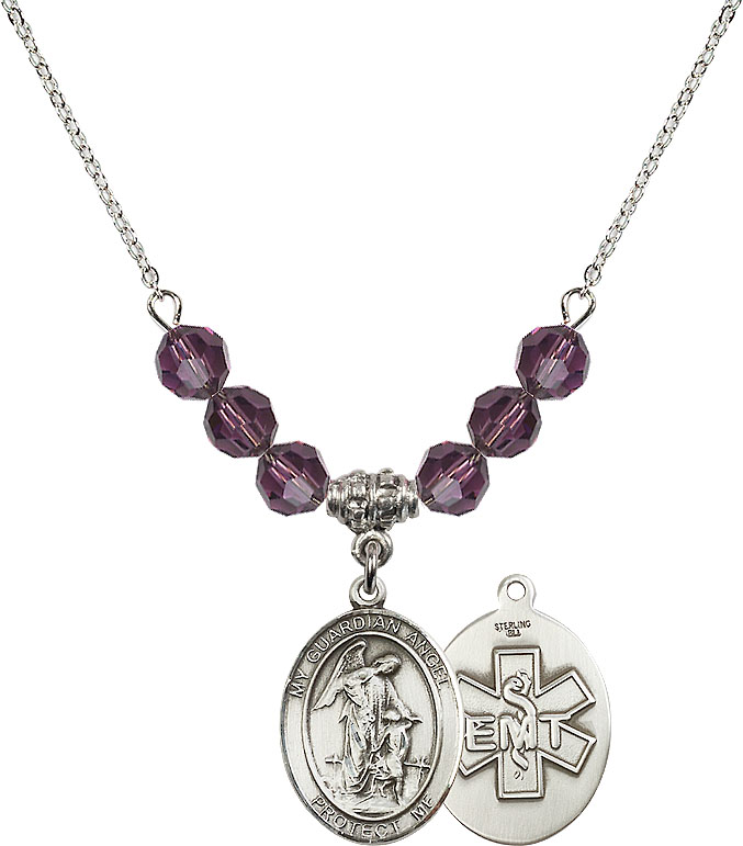 Bonyak Jewelry 18 Inch Rhodium Plated Necklace w// 4mm Light Purple February Birth Month Stone Beads and 5-Way//Chalice Charm