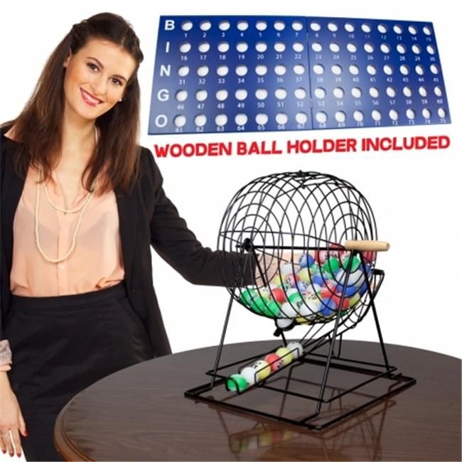 Brybelly GBIN-105 Professional Bingo Set with 19'' Cage, 1. 5'' Balls and Heavy W