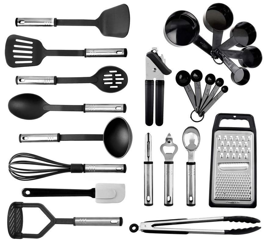 24 Nylon Stainless Steel Cooking Supplies Kitchen Utensils Set New