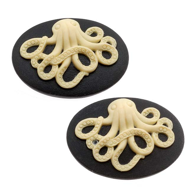 Lucite Oval Cameo - Black With Ivory Octopus 25x18mm (2 Pieces)
