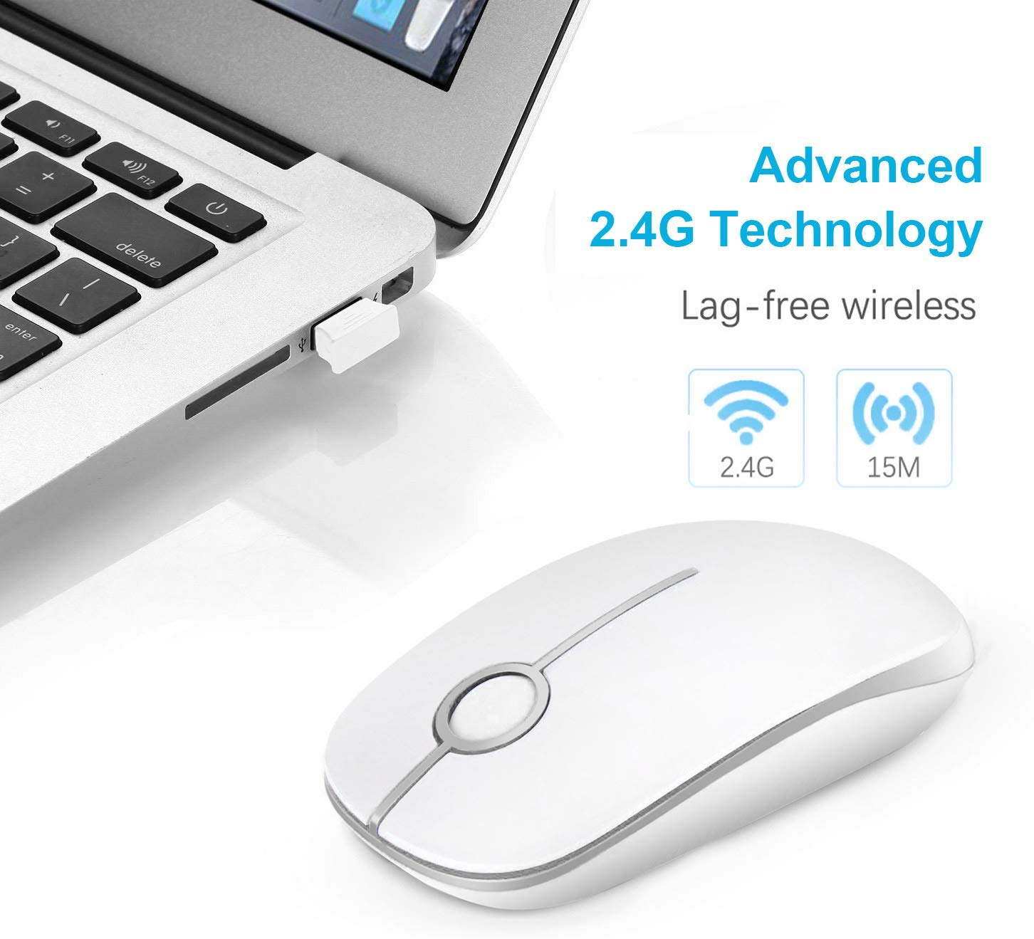 Wireless Mouse Bluetooth Mouse Silent Computer Mouse Rechargeable USB Mice Cordless Optical Mice for Laptop Pc,Smooth Silver