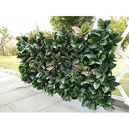 Artificial Hedge Plant Privacy Fence Screen Greenery Panels for Both Outdoor or Indoor, garden or backyard home decorations (20x20 inch artificalHedge-European Laurel, 1 PC