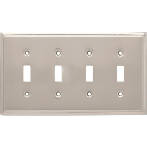 Franklin Brass Country Fair Quad Switch Wall Plate in Satin Nickel