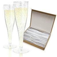 Host & Porter Silver Glitter Plastic Champagne Flutes, 5oz, 100pk
