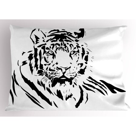 Tiger Pillow Sham Black Stripes of a Large Hunter Cat Nature Scenes Beautiful Sublime Beast Digital Artwork, Decorative Standard King Size Printed Pillowcase, 36 X 20 Inches, Black, by Ambesonne