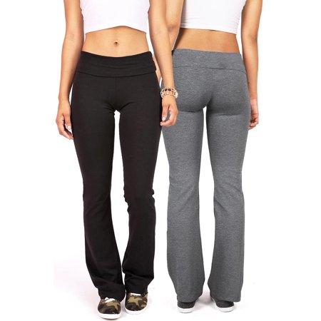 2 Item Bundle: Ambiance Apparel Women's Juniors Yoga Pants (S, Black & Charcoal) (Alternative Yoga Clothes)