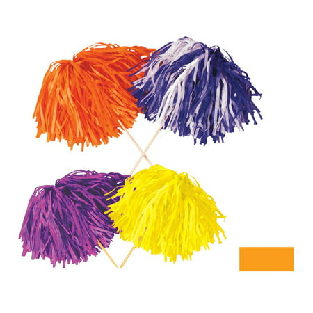 Club Pack of 144 Golden-Yellow Football Themed Pom Pom Tissue Shakers 16
