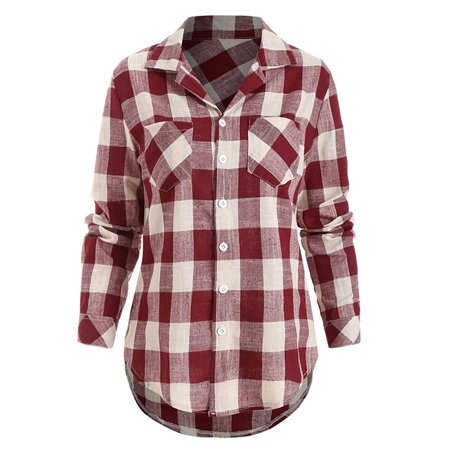 Plaid Womens Skirt (Womens Casual Loose Lapel Collar Plaid Blouse Shirts Long Sleeve)