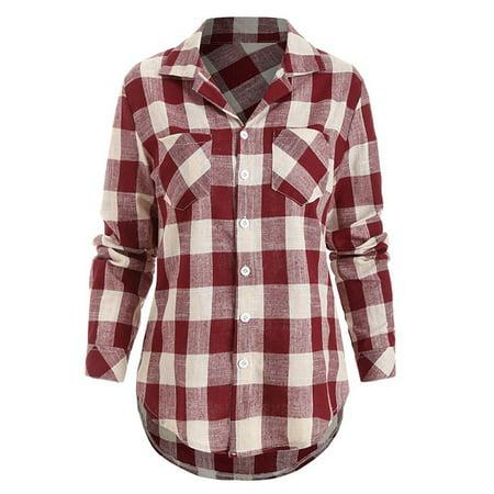 Plaid Womens Skirt (Womens Casual Loose Lapel Collar Plaid Blouse Shirts Long Sleeve)