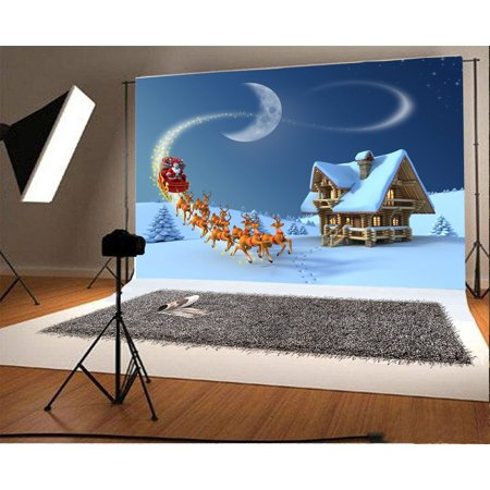 Moonlight Sleigh - MOHome Polyester Fabric Christmas Backdrop 7x5ft Photography Background Santa Claus Reindeer Sleigh Wooden Cottage Moonlight Night Winter New Year Festival Cele