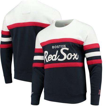 Sox Sweatshirt - Boston Red Sox Mitchell & Ness Coaches Crew Neck Sweatshirt - Navy