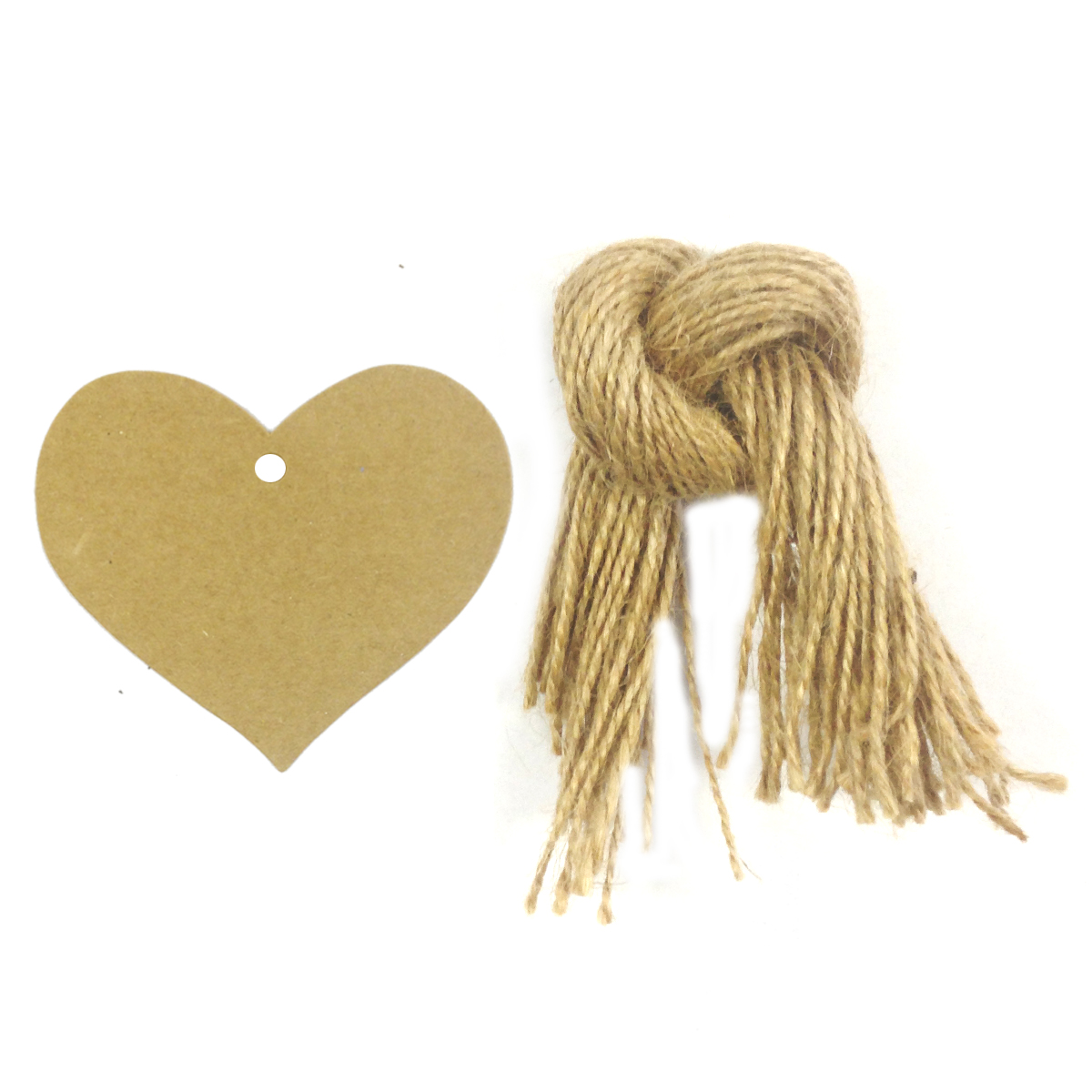 Wrapables® 50 Gift Tags/Kraft Hang Tags with Free Cut Strings for Gifts, Crafts & Price Tags, True Heart