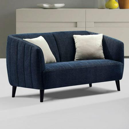 Diamond Sofa Deluca Fabric Loveseat Midnight Blue