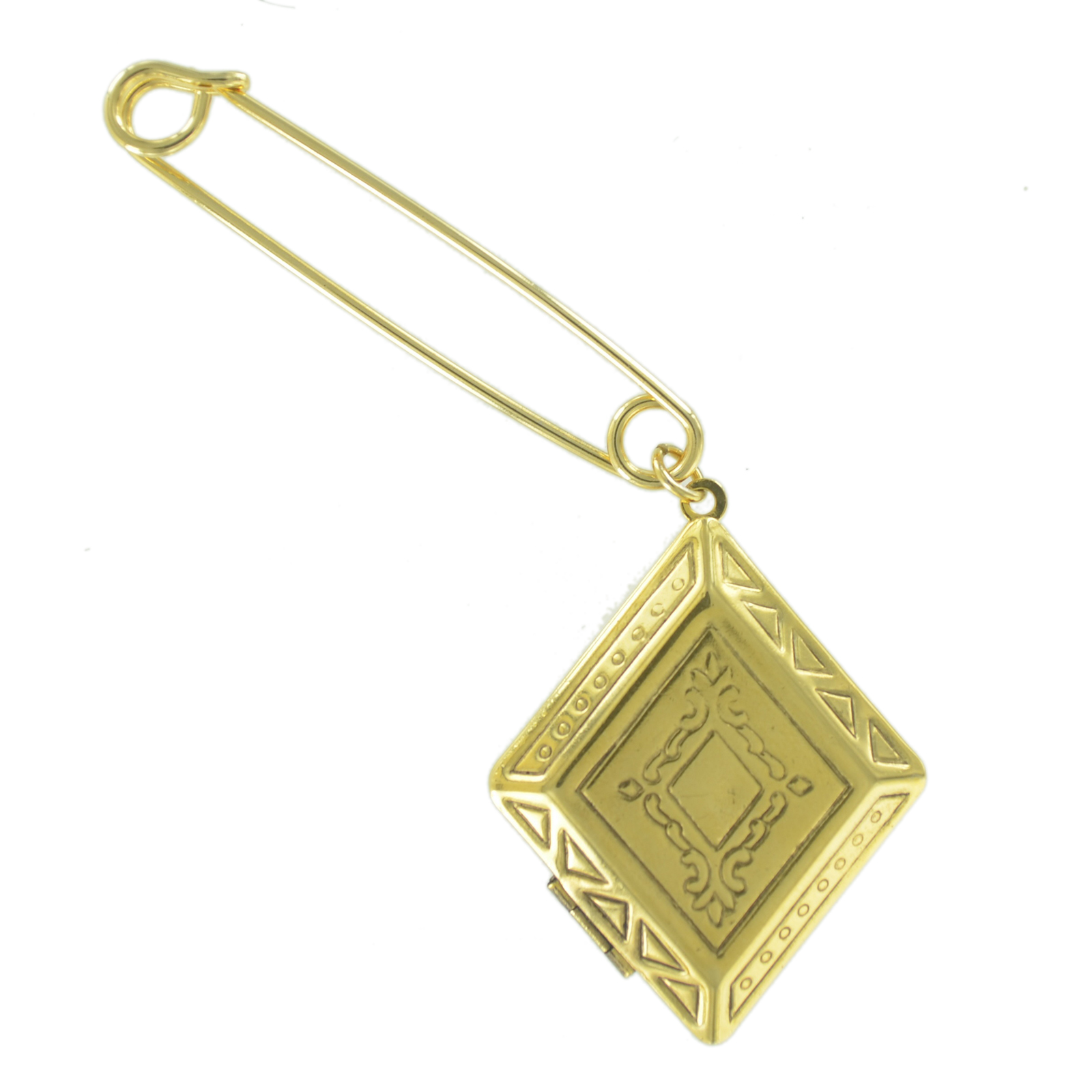 """Safety Pin Brooch 2"""" Antiqued Gold Tone Diamond Shaped Photo Locket Charm Dangle End by Ky & Co"""